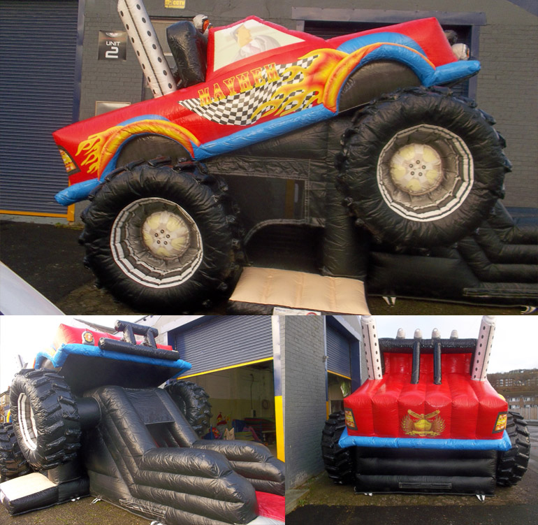 monster truck bouncy castle super slide